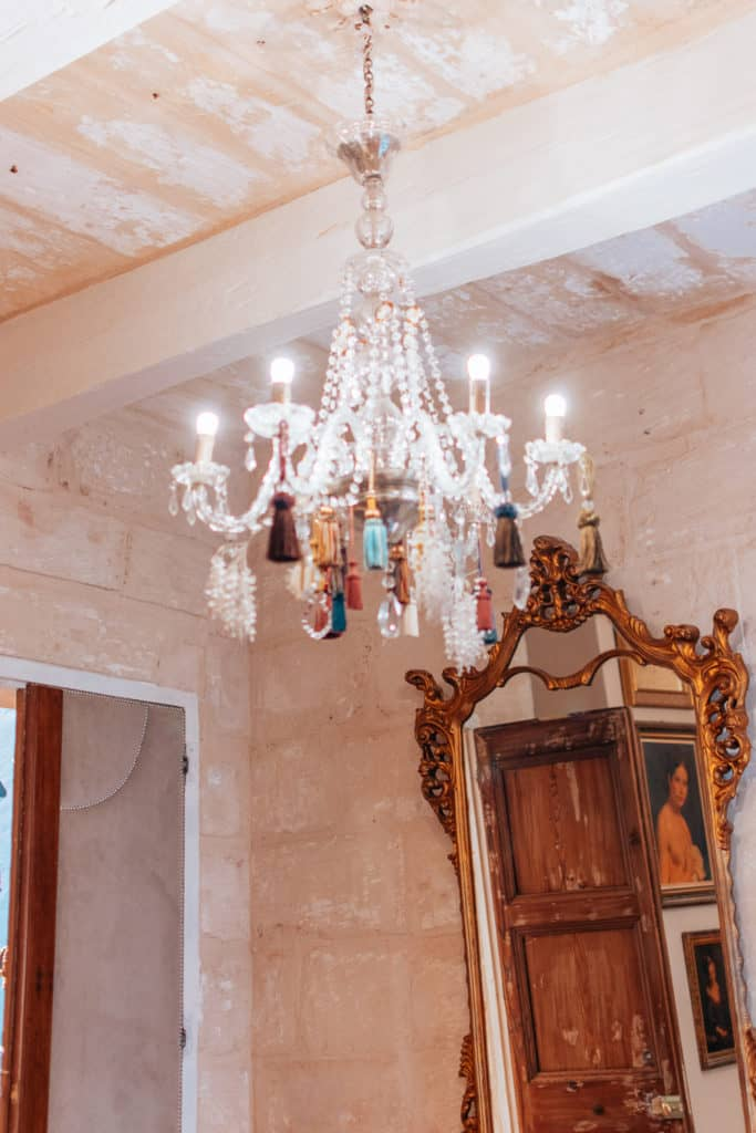chandelier made by Charles' father, Valletta Lucente