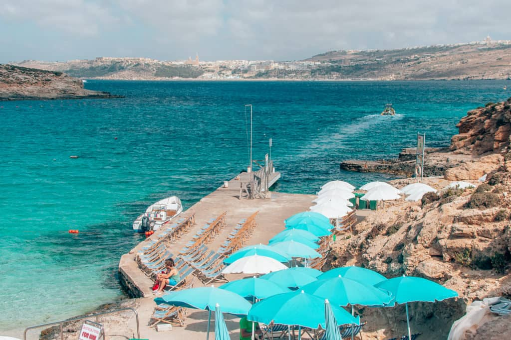 Umbrella at the Blue Lagoon, what to see in Malta
