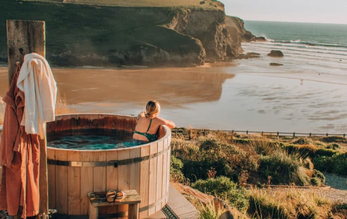woman in hot tub with view