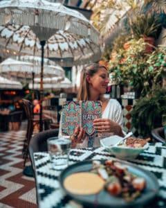 sitting at table at Beatnik