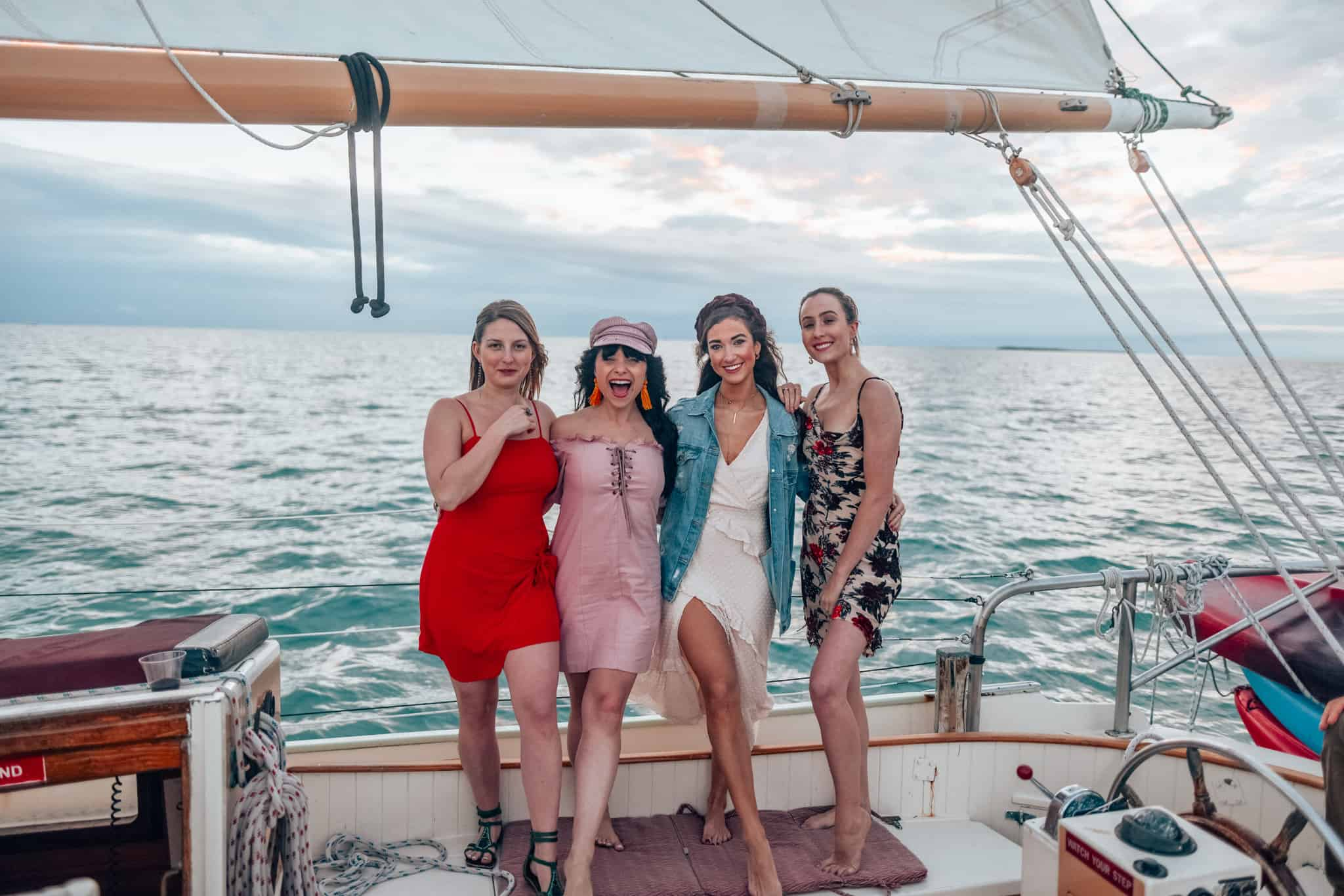 group of girls on boat