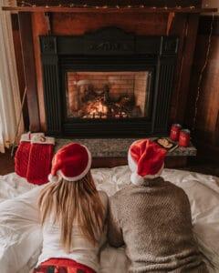 Mirror Lake Inn Bedroom Fireplace