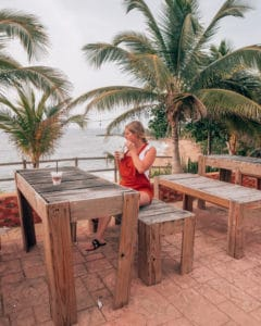 wooden table with beach view