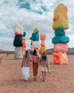 girls walking at seven magic mountains