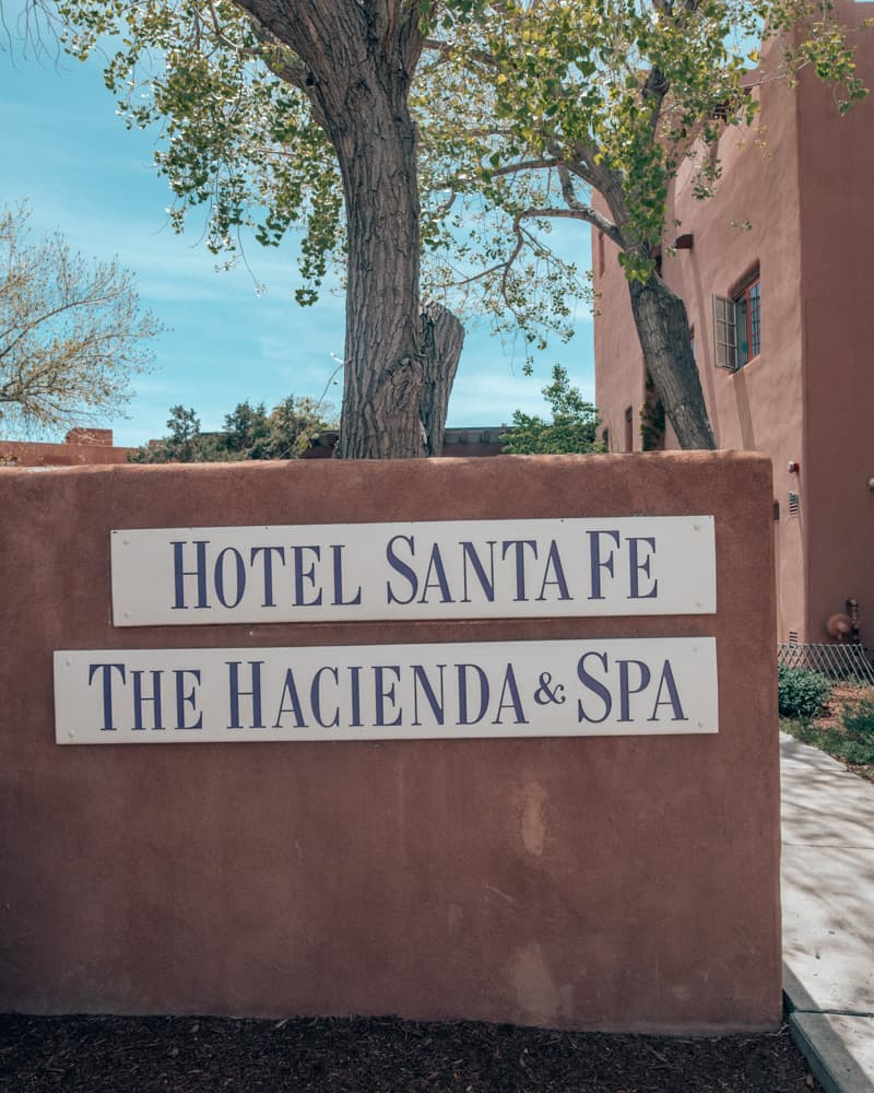 Hotel Santa Fe entrance sign