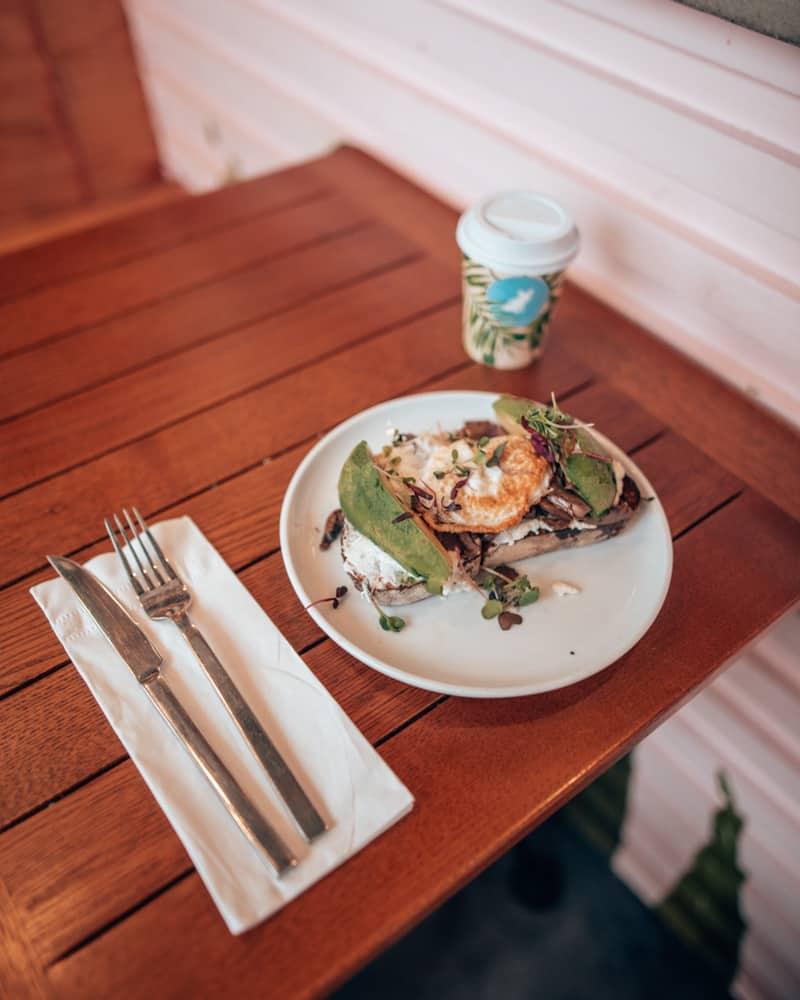 Mushroom and avocado on toast
