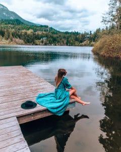 sitting on dock at lake