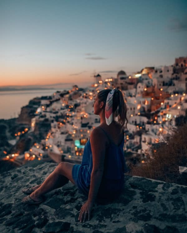 sunset view of Oia