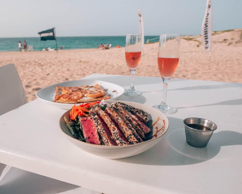 ahi tuna salad on the beach
