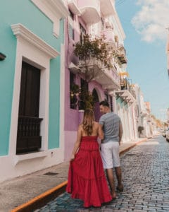 couples standing in streets of San Juan