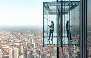 girl at Sky Deck Window