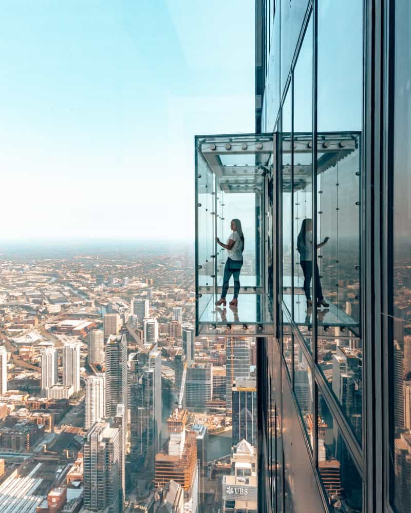 girl at Sky Deck Window