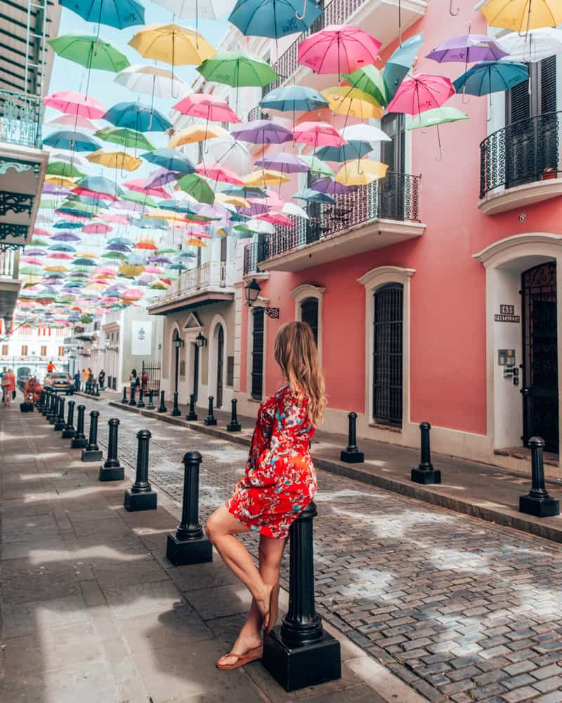Street lined with Umbrellas