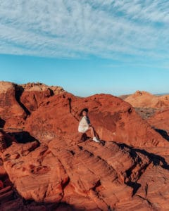 sitting on rock, valley of fire