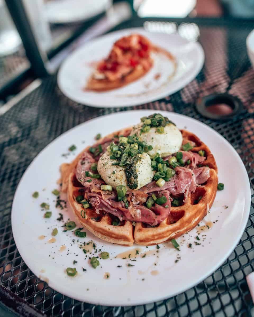 waffles with prosciutto, cheese, egg whites and pesto