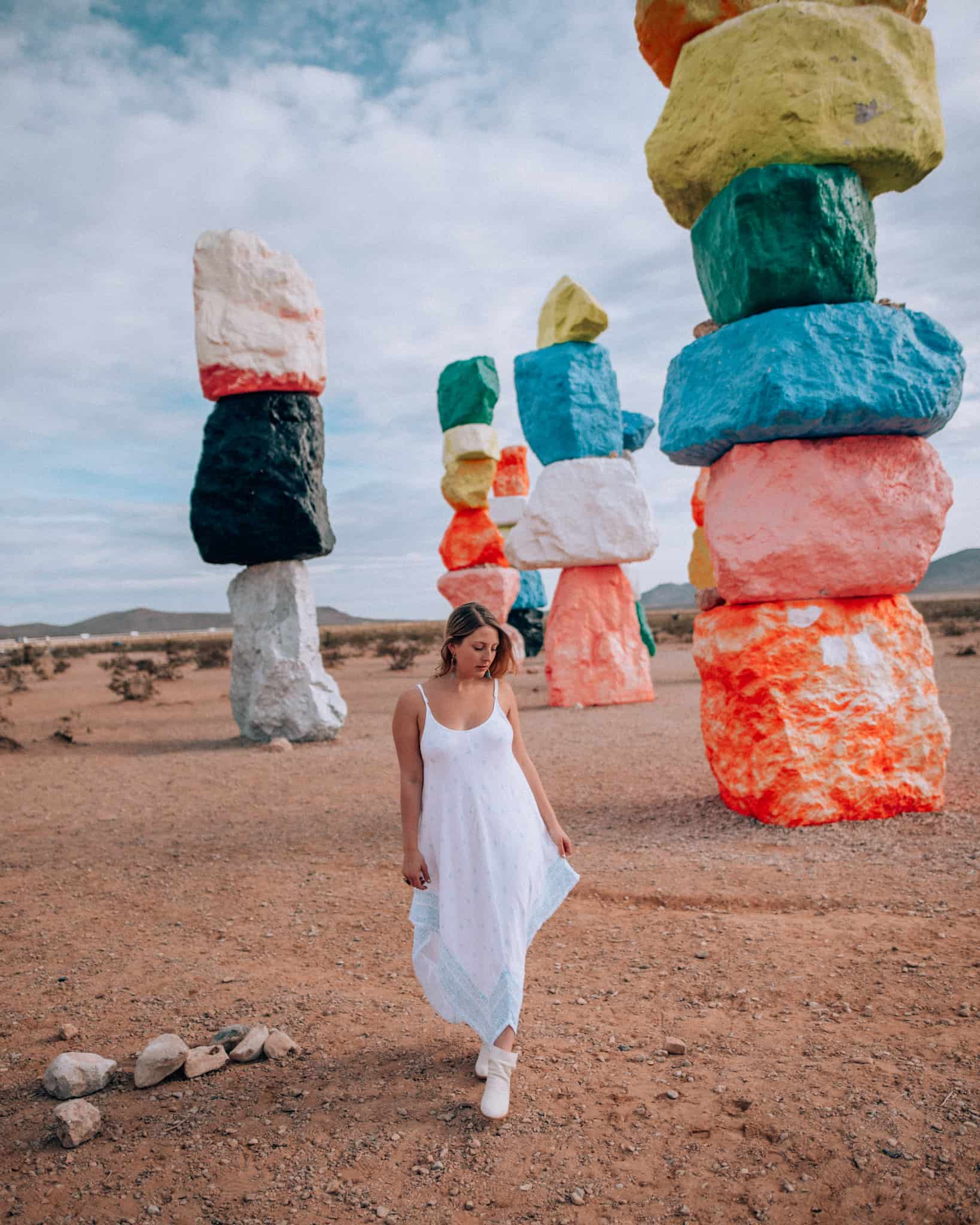 standing at Seven Magic Mountains